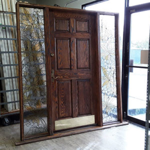 $550 - Entrance Door with Stained Glass Side Windows